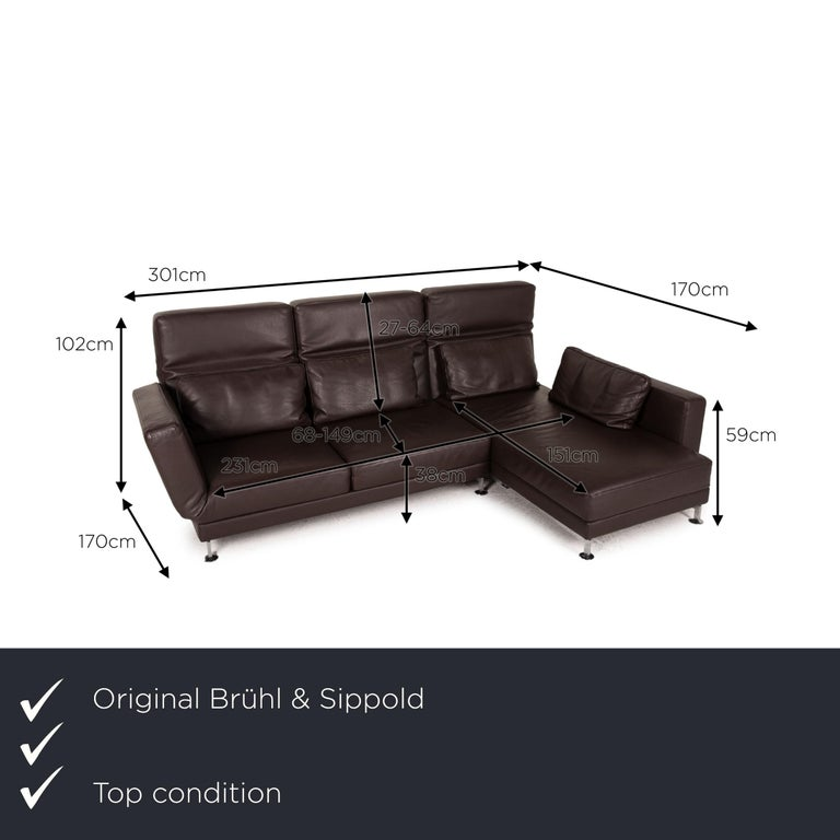 We present to you a Brühl & Sippold moule leather sofa black corner sofa couch function relax.      Product measurements in centimeters:     depth: 170  width: 170  height: 102  seat height: 38  rest height: 59  seat depth: 68  seat