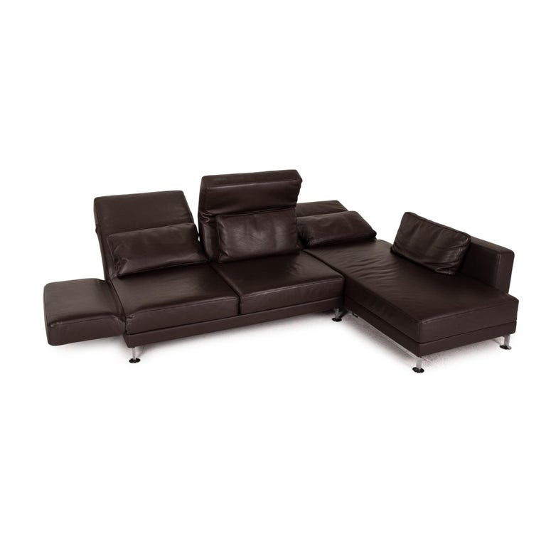 Modern Brühl & Sippold Moule Leather Sofa Black Corner Sofa Couch Function Relax For Sale