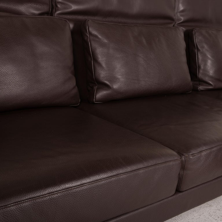 German Brühl & Sippold Moule Leather Sofa Black Corner Sofa Couch Function Relax For Sale