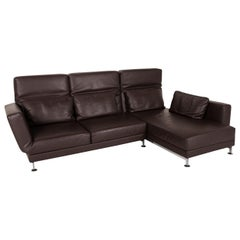 Brühl & Sippold Moule Leather Sofa Black Corner Sofa Couch Function Relax