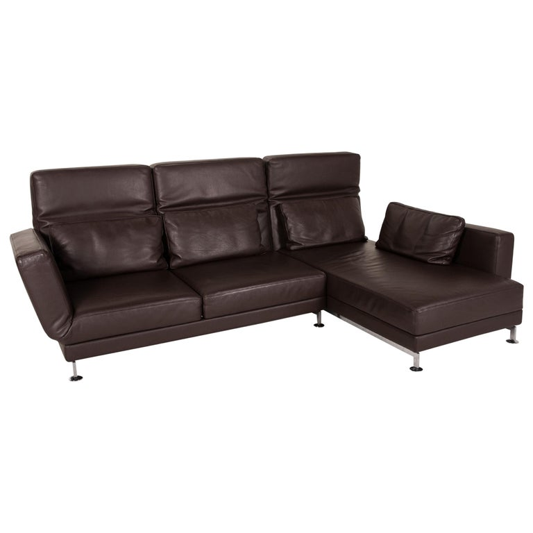 Brühl & Sippold Moule Leather Sofa Black Corner Sofa Couch Function Relax For Sale