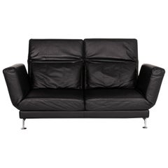 Brühl & Sippold Moule Leather Sofa Black Sofa Bed Relax Function Sleep Function