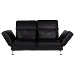 Brühl & Sippold Moule Leather Sofa Black Two-Seat Include Function