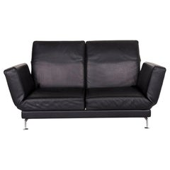 Brühl & Sippold Moule Leather Sofa Black Two-Seat Function Relax Function
