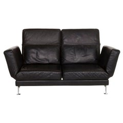 Brühl & Sippold Moule Leather Sofa Black Two-Seater Incl. Function