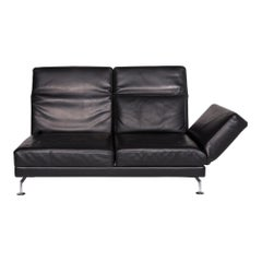 Brühl & Sippold Moule Leather Sofa Black Two-Seat Relax Function Couch