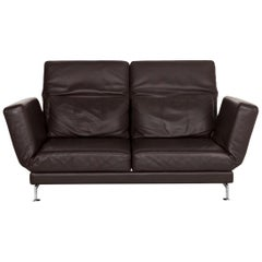 Brühl & Sippold Moule Leather Sofa Brown Dark Brown Relax Function Couch