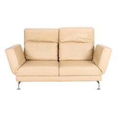 Brühl & Sippold Moule Leather Sofa Cream Two-Seater Function Relax Function