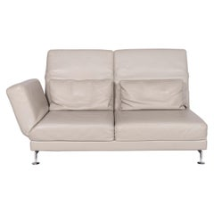 Brühl & Sippold Moule Leather Sofa Gray Two-Seat Function Relax Function Couch