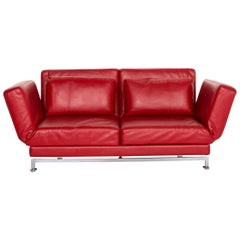 Brühl & Sippold Moule Leather Sofa Red Two-Seat Function Sofa Bed Sleep
