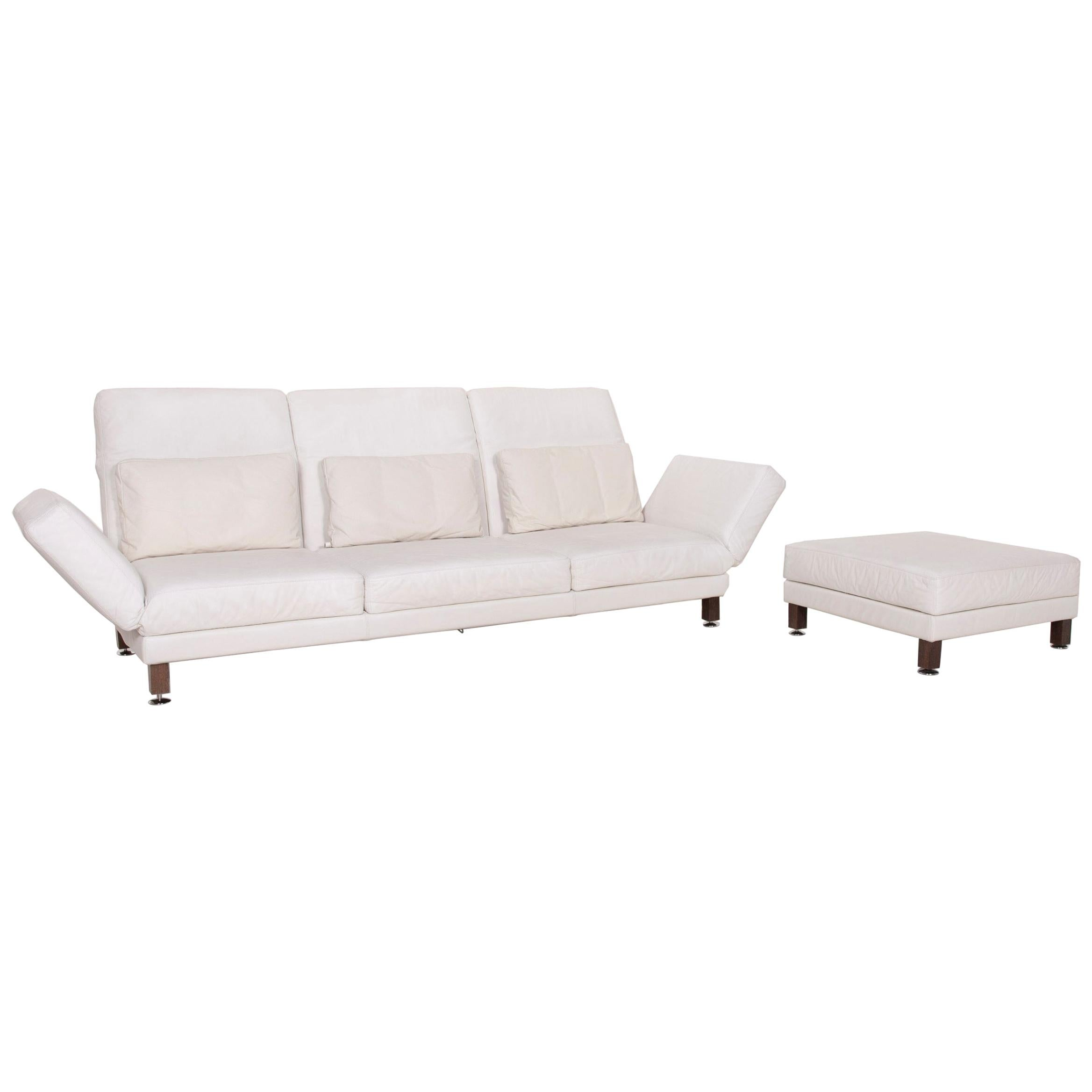 Brühl & Sippold Moule Leather Sofa Set White Three-Seat Relax Function Stool