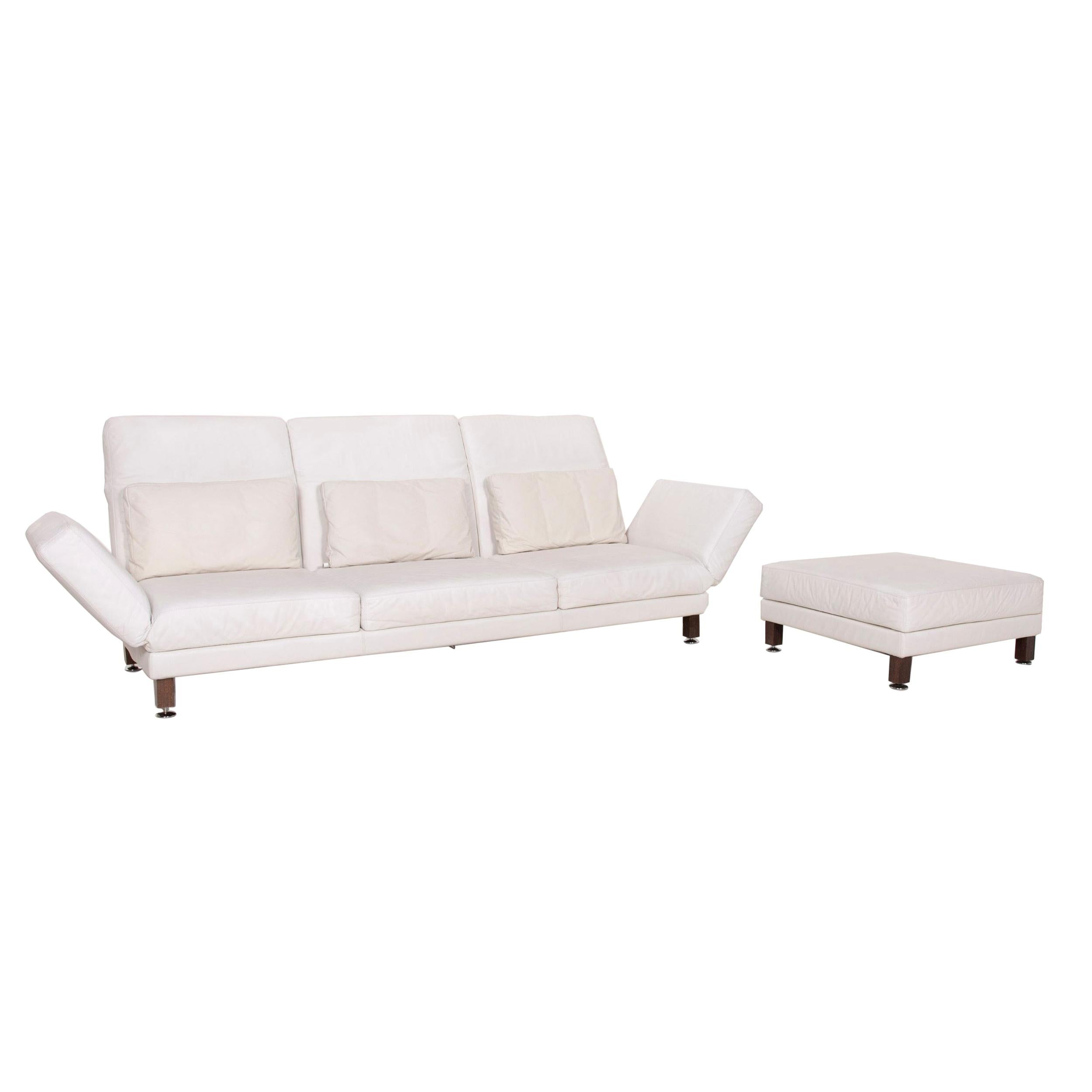 Brühl & Sippold Moule Leather Sofa Set White Three-Seater Relax Function Stool