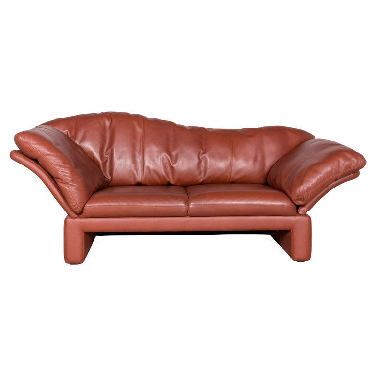 Brühl & Sippold Prelude Designer Leather Sofa Red Genuine Leather Two-Seat