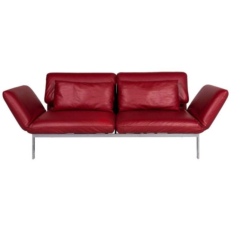 Brühl & Sippold Roro Designer Leather Sofa Red Two-Seat Relax Function Couch