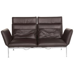 Brühl & Sippold Roro Leather Sofa Brown Dark Brown Three-Seat Function Relax