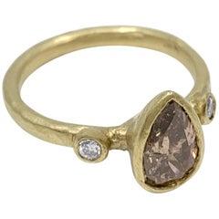 """Bruised Pear"" Ring with 1.09 Carat Brown Diamond in 18 Karat Yellow Gold"