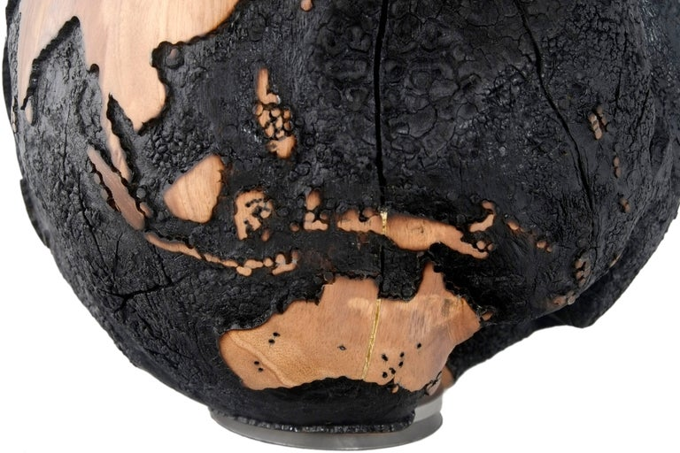 brulee  hb globe made of teak root  burnt finishing with