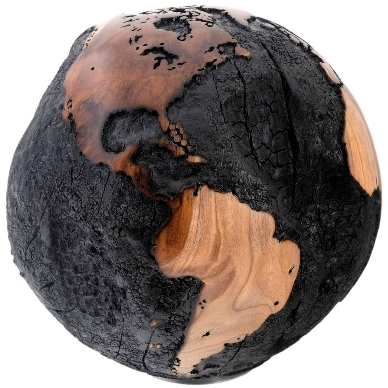 Brulee, HB Globe Made of Teak Root, Burnt Finishing with Gold Line Accents 25cm
