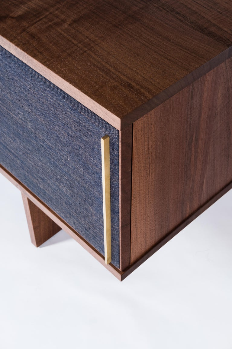 American Brume Cabinet Credenza by Tretiak Works, Modern Contemporary Walnut Brass  For Sale