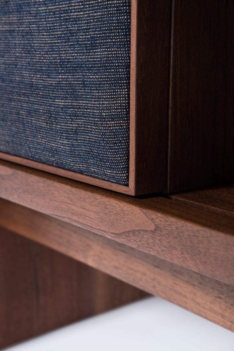 Hand-Crafted Brume Cabinet Credenza by Tretiak Works, Modern Contemporary Walnut Brass  For Sale