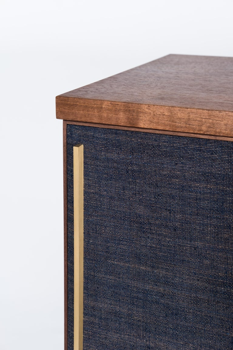 Brume Cabinet Credenza by Tretiak Works, Modern Contemporary Walnut Brass  In New Condition For Sale In Portland, OR