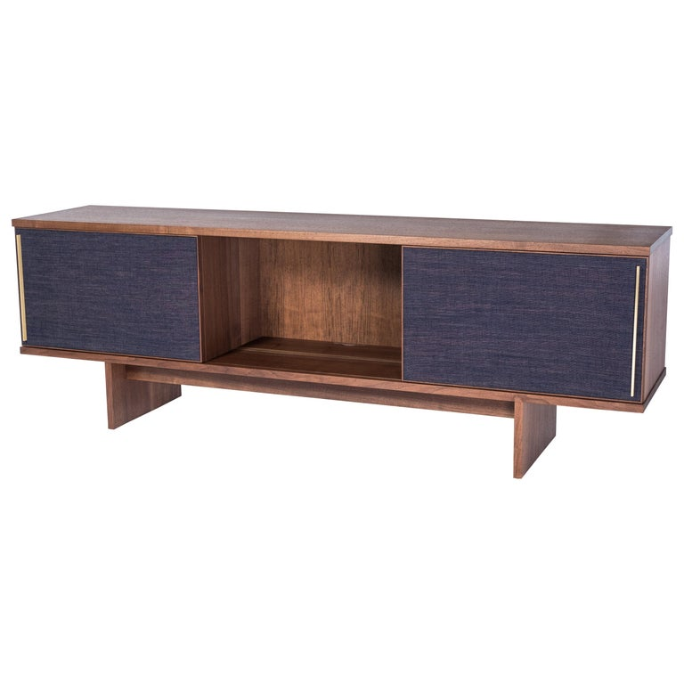 Brume Cabinet Credenza by Tretiak Works, Modern Contemporary Walnut Brass  For Sale