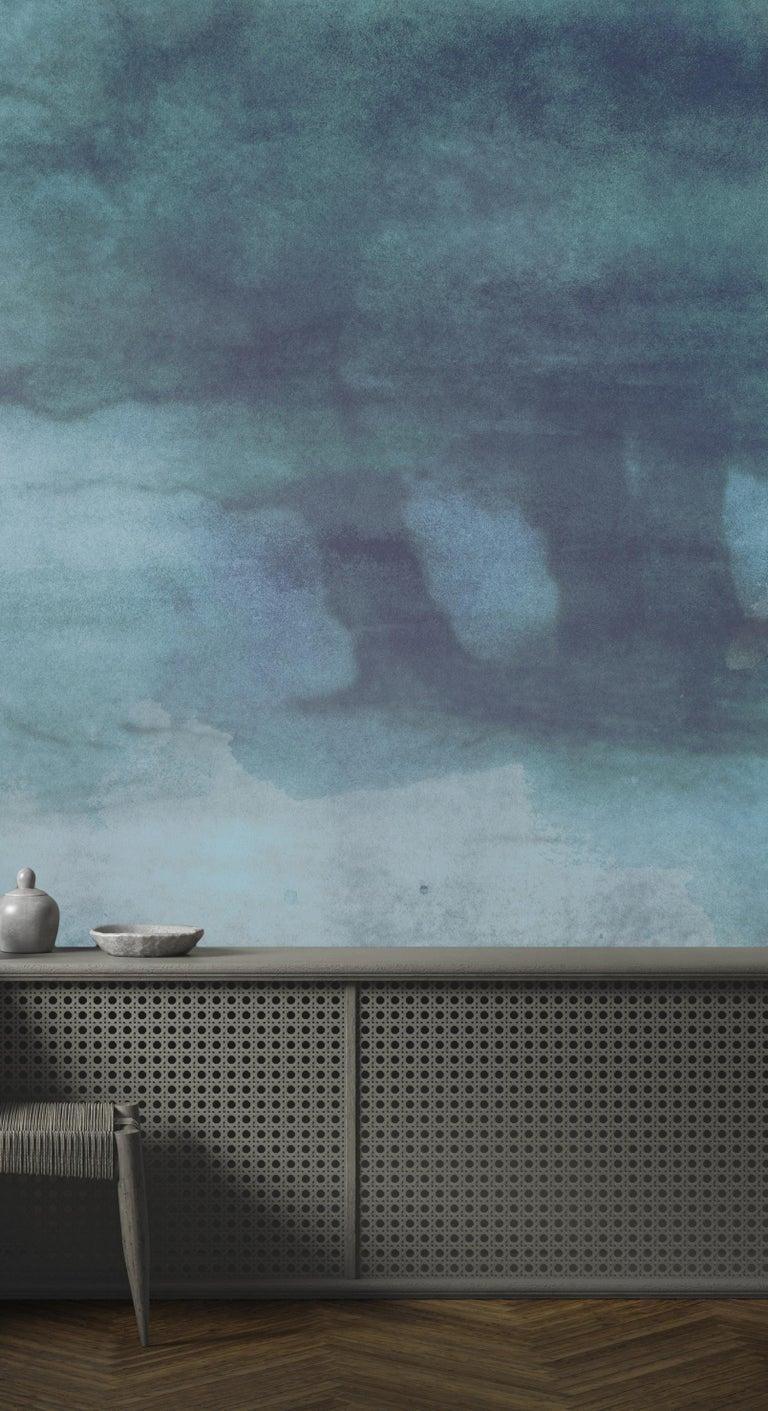 French Brume du Tibet - custom mural wallpaper (faded blue) For Sale
