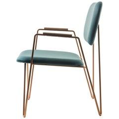 """Bruna"" Minimalist Armchair in Painted Steel and Blue Velvet Handwoven"