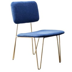 """Bruna"" Minimalist Chair in Painted Steel and Blue Velvet Hand Woven"
