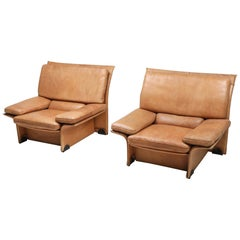 Brunati Camel Leather Club Chairs, Italy
