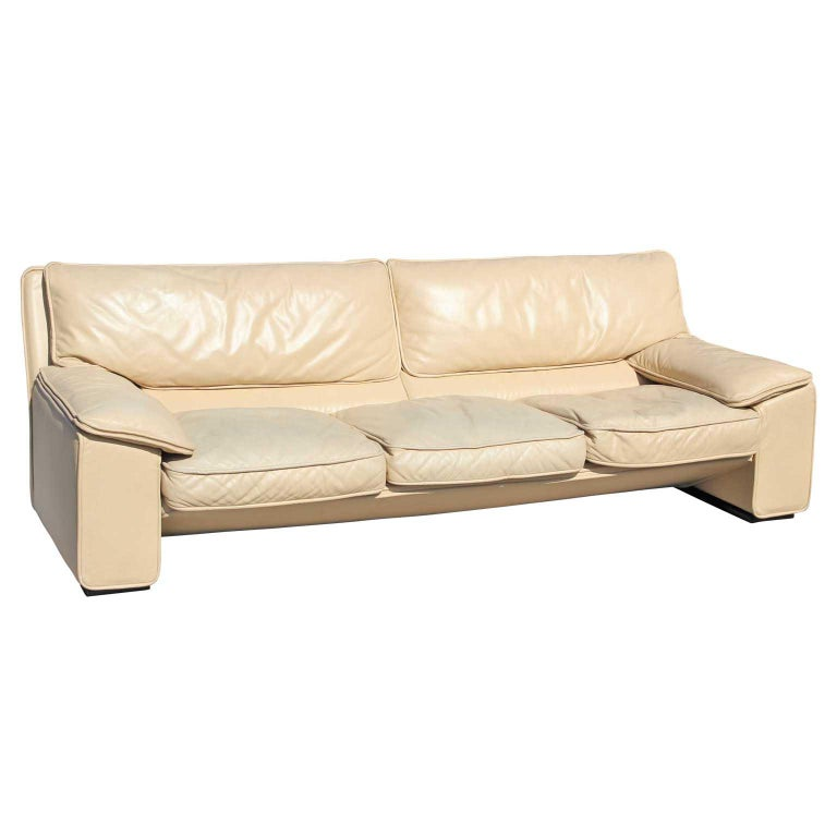 Post-Modern Brunati Italian Postmodern Cream Leather Three-Seat Sofa