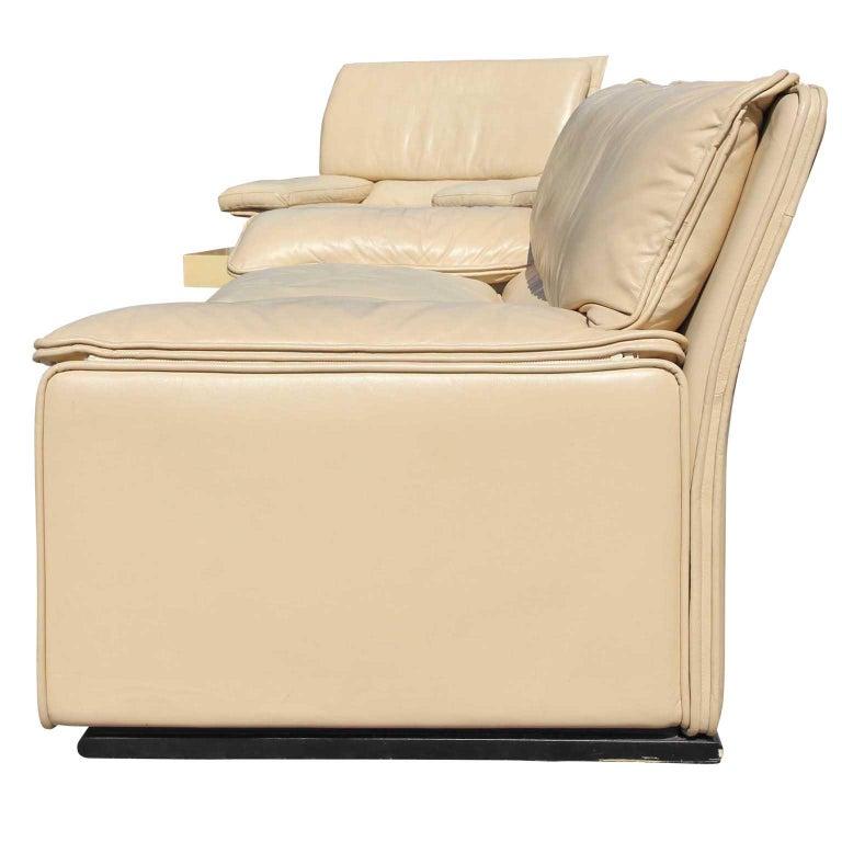 Brunati Italian Postmodern Cream Leather Three-Seat Sofa In Good Condition In Houston, TX