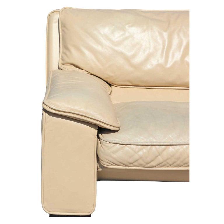 Late 20th Century Brunati Italian Postmodern Cream Leather Three-Seat Sofa