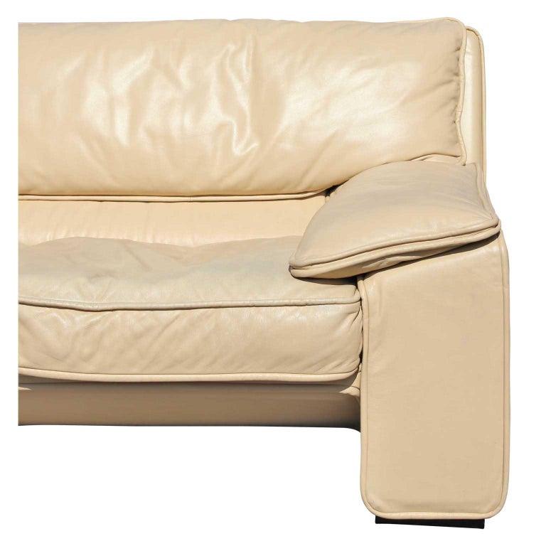 Brunati Italian Postmodern Cream Leather Three-Seat Sofa 1