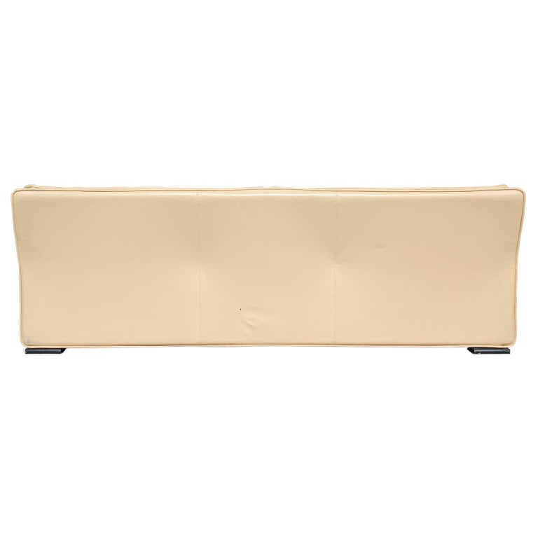 Brunati Italian Postmodern Cream Leather Three-Seat Sofa 2