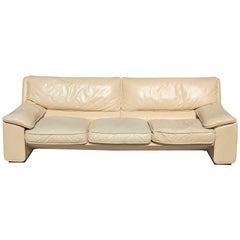 Brunati Italian Postmodern Cream Leather Three-Seat Sofa