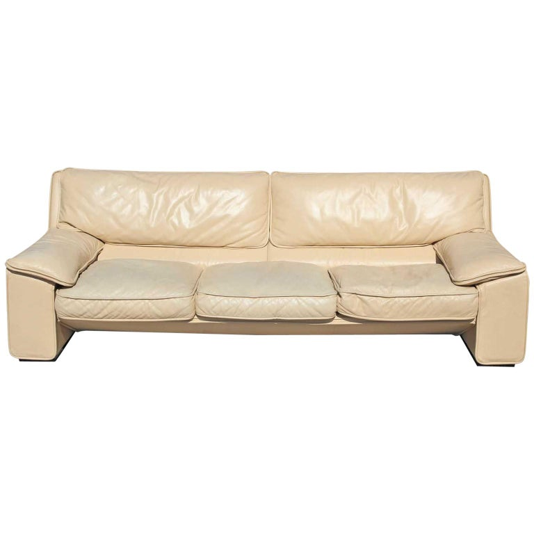Brunati Italian Postmodern Cream Leather Three-Seat Sofa