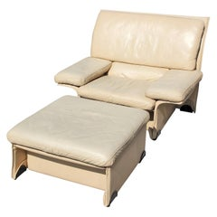 Brunati Postmodern Italian Cream Leather Lounge Chair and Ottoman