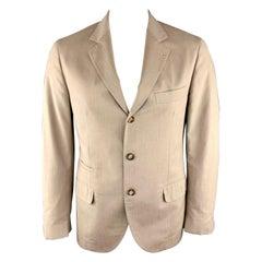 BRUNELLO CUCINELLI 40 Sand Cotton Notch Lapel Sport Coat