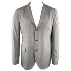 BRUNELLO CUCINELLI 44 Grey Solid Wool / Silk Notch Lapel Sport Coat / Blaxer