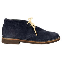 BRUNELLO CUCINELLI Antilope Size 8 Navy Suede Ankle Boots