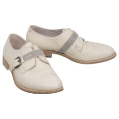 Brunello Cucinelli Beige Leather Monk Shoes Jeweled Buckle Strap Size 40