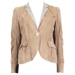 BRUNELLO CUCINELLI beige suede Single Breasted Blazer Jacket 42 M