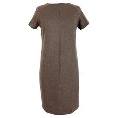 Brunello Cucinelli Beige Wool Strass Sweater Dress