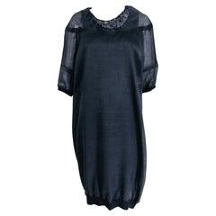 Brunello Cucinelli Black 3pc Organza & Knit Draw Cord Dress & Belt