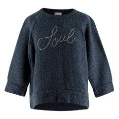 Brunello Cucinelli Blue Cashmere Monili Embroidered Soul Sweater - Us size 6