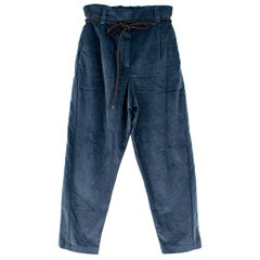 Brunello Cucinelli Blue Corduroy Trousers with Leather Belt US 6