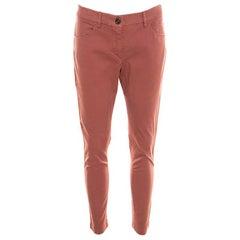 Brunello Cucinelli Brick Red Cotton Slim Fit Pants S