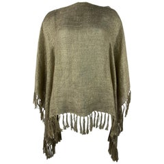 Brunello Cucinelli Brown and Gold Metallic Knit Cover Up Tunic