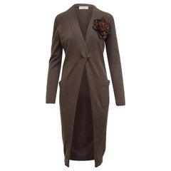 Brunello Cucinelli Brown Cashmere Mid Length Cardigan